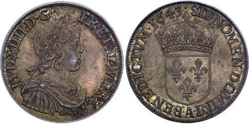 1/2 Ecu Reino de Francia (843-1791) Plata Luis XIV de Francia (1638-1715)