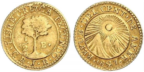 1/2 Escudo Guatemala / Costa Rica / Zentralamerikanische Konföderation (1823 - 1838) Gold