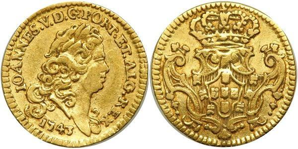 1/2 Escudo Kingdom of Portugal (1139-1910) Gold John V of Portugal (1689-1750)