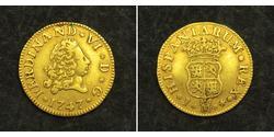 1/2 Escudo Spanisches Kolonialreich (1700 - 1808) Gold Ferdinand VI. von Spanien (1713-1759)