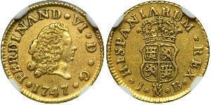 1/2 Escudo Spanish Empire (1700 - 1808) Gold Ferdinand VI of Spain (1713-1759)