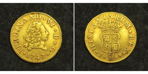 1/2 Escudo Spanish Empire (1700 - 1808) Gold Ferdinand VI of Spain (1713-1759)