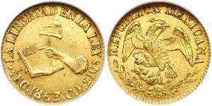 1/2 Escudo Estados Unidos Mexicanos (1846 - 1863) Oro