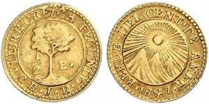 1/2 Escudo Guatemala / República Federal de Centro América (1823 - 1838) / Costa Rica Oro