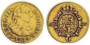 1/2 Escudo Impero spagnolo (1700 - 1808) Oro Carlo III di Spagna (1716 -1788)