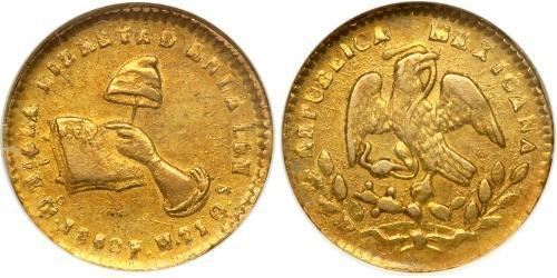 1/2 Escudo Second Federal Republic of Mexico (1846 - 1863) Oro