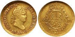 1/2 Escudo Virreinato de Nueva España (1519 - 1821) Oro Fernando VII de España (1784-1833)