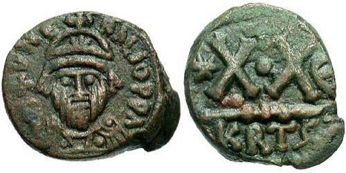 1/2 Follis Impero bizantino (330-1453) Bronzo Eraclio (575-641)
