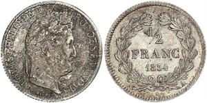 1/2 Franc 法国 銀 路易-菲利普一世 (1773 -1850)