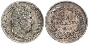1/2 Franc Francia Argento Luigi Filippo di Francia (1773 -1850)