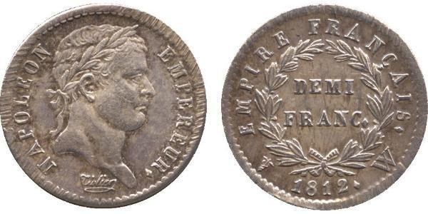 1/2 Franc Primo Impero francese (1804-1814) Argento Napoleone Bonaparte(1769 - 1821)