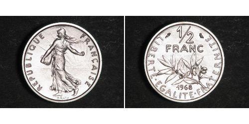 1/2 Franc Quinta República Francesa (1958 - ) Níquel
