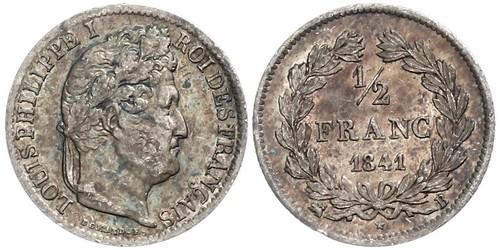1/2 Franc Francia Plata Luis Felipe I de Francia  (1773 -1850)