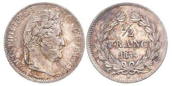1/2 Franc France Silver Louis Philippe I of France (1773 -1850)
