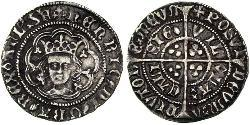 1/2 Groat Kingdom of England (927-1649,1660-1707) Silver Henry VI (1421-1471)