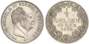 1/2 Gulden 普魯士王國 (1701 - 1918) 銀 腓特烈·威廉四世 (1795 - 1861)