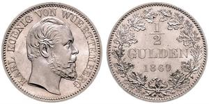 1/2 Gulden Kingdom of Württemberg (1806-1918) 銀 卡尔一世 (符腾堡)