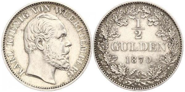 1/2 Gulden Royaume de Wurtemberg (1806-1918) Argent Charles Ier de Wurtemberg