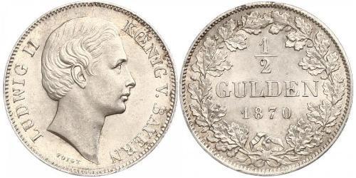 1/2 Gulden Regno di Baviera (1806 - 1918) Argento Ludovico II di Baviera(1845 – 1886)