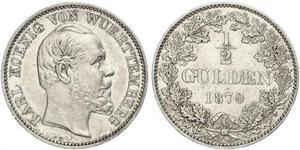 1/2 Gulden Regno di Württemberg (1806-1918) Argento Carlo di Württemberg
