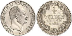 1/2 Gulden Reino de Prusia (1701-1918) Plata Federico Guillermo IV de Prusia (1795 - 1861)