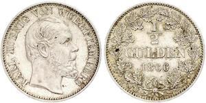 1/2 Gulden Reino de Wurtemberg (1806-1918) Plata Carlos I de Wurtemberg