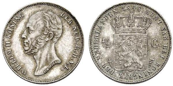 1/2 Gulden Reino de los Países Bajos (1815 - ) Plata Guillermo II de los Países Bajos (1792 - 1849)
