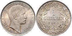 1/2 Gulden Grand Duchy of Baden (1806-1918) Silver Frederick I, Grand Duke of Baden (1826 - 1907)