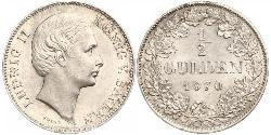 1/2 Gulden Kingdom of Bavaria (1806 - 1918) Silver Ludwig II of Bavaria (1845 – 1886)