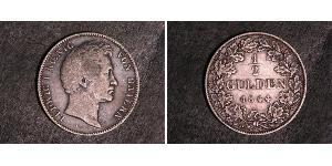 1/2 Gulden Kingdom of Bavaria (1806 - 1918) Silver Ludwig I of Bavaria (1786 – 1868)