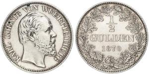1/2 Gulden Kingdom of Württemberg (1806-1918) Silver Charles I of Württemberg