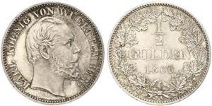 1/2 Gulden Kingdom of Württemberg (1806-1918) Silver Charles I of Württemberg