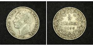 1/2 Gulden Kingdom of Württemberg (1806-1918) Silver William I of Württemberg