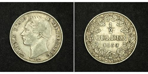 1/2 Gulden Kingdom of Württemberg (1806-1918) Silver William I of Württemberg