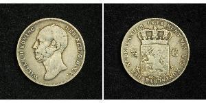 1/2 Gulden Kingdom of the Netherlands (1815 - ) Silver William II of the Netherlands (1792 - 1849)
