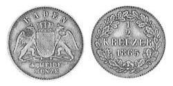 1/2 Kreuzer Grand Duchy of Baden (1806-1918) Copper Frederick I, Grand Duke of Baden (1826 - 1907)