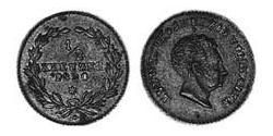 1/2 Kreuzer Grand Duchy of Baden (1806-1918) Copper Louis I, Grand Duke of Baden (1763 - 1830)