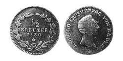 1/2 Kreuzer Grand Duchy of Baden (1806-1918) Copper Leopold, Grand Duke of Baden (1790 – 1852)