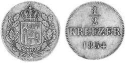 1/2 Kreuzer Kingdom of Bavaria (1806 - 1918) Copper Maximilian II of Bavaria (1811 - 1864)