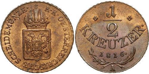 1/2 Kreuzer 奧地利帝國 (1804 - 1867)  弗朗茨二世 (神圣罗马帝国) (1768 - 1835)