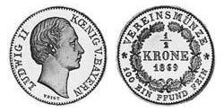 1/2 Krone Kingdom of Bavaria (1806 - 1918) Gold Ludwig II of Bavaria (1845 – 1886)