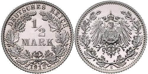 1/2 Mark 德意志帝國 (1871 - 1918) 銀