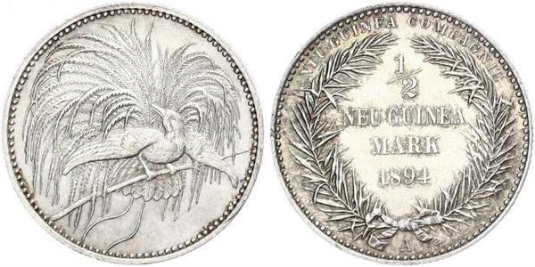 1/2 Mark Nuova Guinea Argento