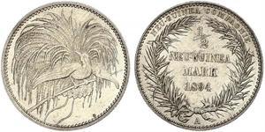 1/2 Mark Neuguinea Silber