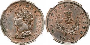 1/2 Penny 加拿大 銅 喬治四世 (1762-1830)