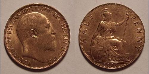 1/2 Penny 大不列颠及爱尔兰联合王国 (1801 - 1922) 青铜 爱德华七世 (1841-1910)