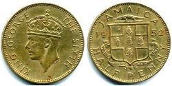 1/2 Penny Jamaica (1962 - ) Brass/Nickel George VI (1895-1952)