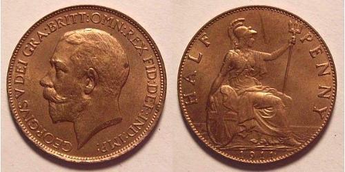 1/2 Penny Reino Unido de Gran Bretaña e Irlanda (1801-1922) Bronce Jorge V (1865-1936)