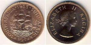 1/2 Penny Sudáfrica Bronce Isabel II (1926-)