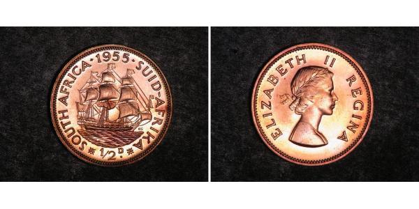 1/2 Penny Sudáfrica Bronce Isabel II (1926-)